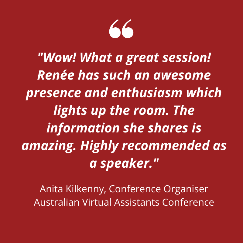 A testimonial for Renee Hasseldine. Red background, white text,