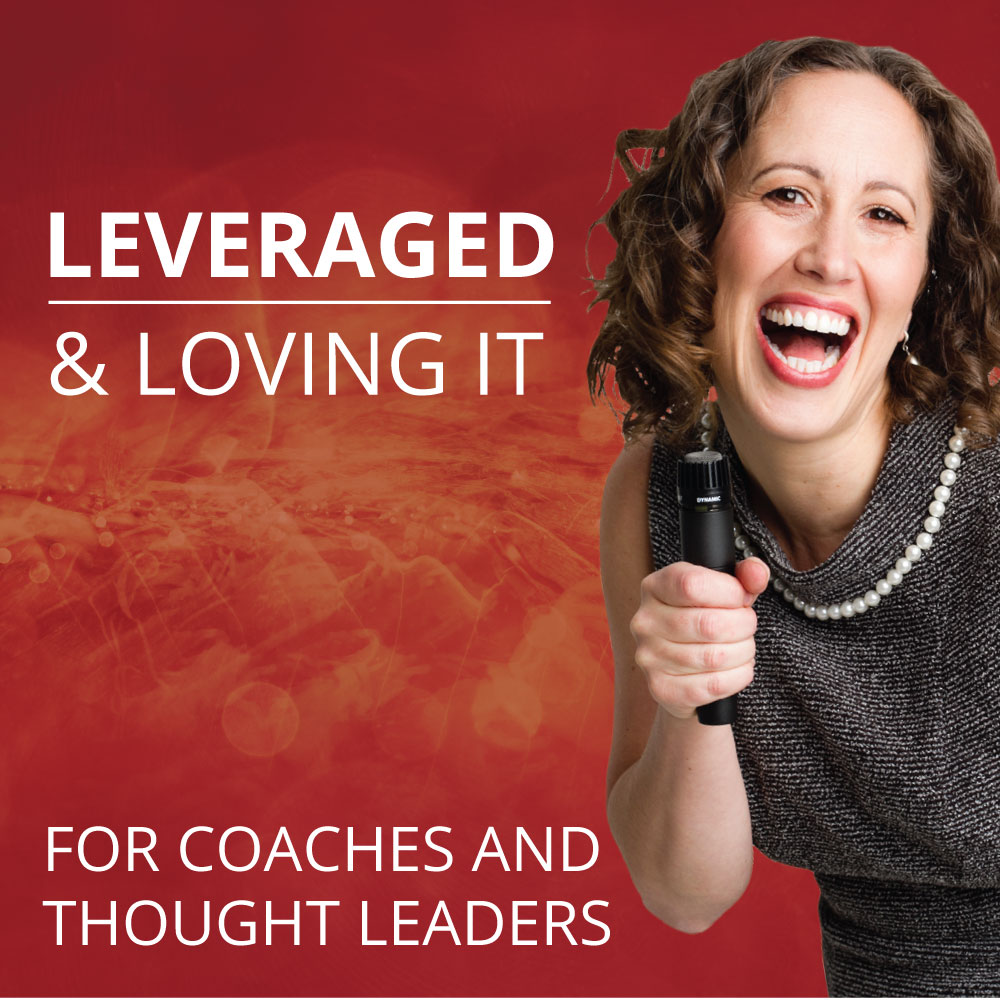 """An image of Renee Hasseldine holding a microphone on a red wavy background. The text is white and reads LEVERAGED & LOVING IT: FOR COACHES AND THOUGHT LEADERS"""""""